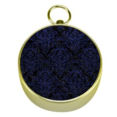 Damask1 Black Marble & Blue Leather Gold Compass by trendistuff