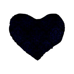 Damask1 Black Marble & Blue Leather Standard 16  Premium Flano Heart Shape Cushion  by trendistuff