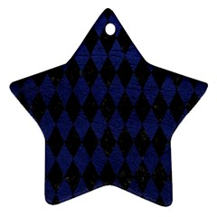 Diamond1 Black Marble & Blue Leather Star Ornament (two Sides) by trendistuff
