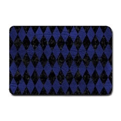 Diamond1 Black Marble & Blue Leather Small Doormat by trendistuff