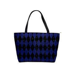 Diamond1 Black Marble & Blue Leather Classic Shoulder Handbag by trendistuff