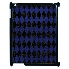 Diamond1 Black Marble & Blue Leather Apple Ipad 2 Case (black) by trendistuff