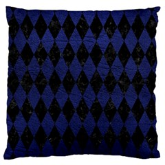 Diamond1 Black Marble & Blue Leather Large Cushion Case (two Sides) by trendistuff