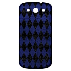 Diamond1 Black Marble & Blue Leather Samsung Galaxy S3 S Iii Classic Hardshell Back Case by trendistuff