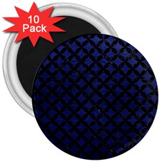 Circles3 Black Marble & Blue Leather (r) 3  Magnet (10 Pack) by trendistuff