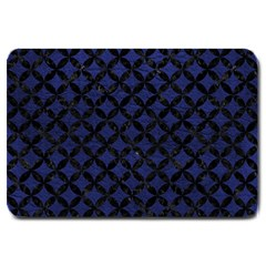 Circles3 Black Marble & Blue Leather (r) Large Doormat by trendistuff