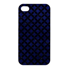 Circles3 Black Marble & Blue Leather (r) Apple Iphone 4/4s Premium Hardshell Case by trendistuff