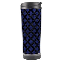 Circles3 Black Marble & Blue Leather (r) Travel Tumbler by trendistuff