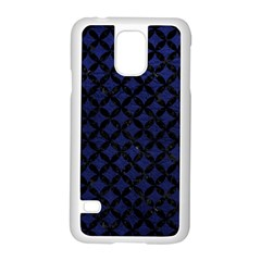 Circles3 Black Marble & Blue Leather (r) Samsung Galaxy S5 Case (white) by trendistuff