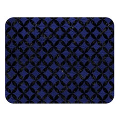 Circles3 Black Marble & Blue Leather (r) Double Sided Flano Blanket (large)