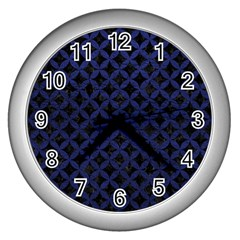 Circles3 Black Marble & Blue Leather Wall Clock (silver) by trendistuff