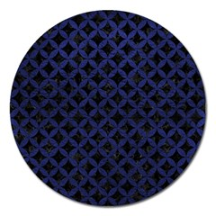Circles3 Black Marble & Blue Leather Magnet 5  (round) by trendistuff