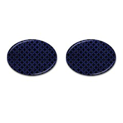 Circles3 Black Marble & Blue Leather Cufflinks (oval) by trendistuff