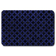 Circles3 Black Marble & Blue Leather Large Doormat by trendistuff