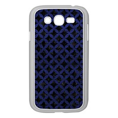 Circles3 Black Marble & Blue Leather Samsung Galaxy Grand Duos I9082 Case (white) by trendistuff