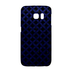 Circles3 Black Marble & Blue Leather Samsung Galaxy S6 Edge Hardshell Case by trendistuff