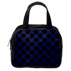 Circles2 Black Marble & Blue Leather (r) Classic Handbag (one Side) by trendistuff