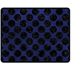 Circles2 Black Marble & Blue Leather (r) Fleece Blanket (medium) by trendistuff