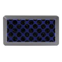 Circles2 Black Marble & Blue Leather (r) Memory Card Reader (mini) by trendistuff