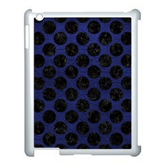 Circles2 Black Marble & Blue Leather (r) Apple Ipad 3/4 Case (white) by trendistuff