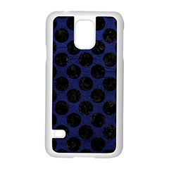 Circles2 Black Marble & Blue Leather (r) Samsung Galaxy S5 Case (white) by trendistuff