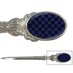 Circles2 Black Marble & Blue Leather Letter Opener by trendistuff