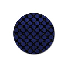 Circles2 Black Marble & Blue Leather Magnet 3  (round) by trendistuff