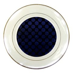 Circles2 Black Marble & Blue Leather Porcelain Plate by trendistuff