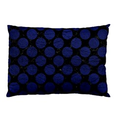 Circles2 Black Marble & Blue Leather Pillow Case (two Sides) by trendistuff