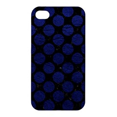 Circles2 Black Marble & Blue Leather Apple Iphone 4/4s Premium Hardshell Case by trendistuff