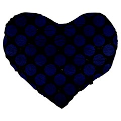 Circles2 Black Marble & Blue Leather Large 19  Premium Heart Shape Cushion by trendistuff