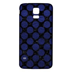 Circles2 Black Marble & Blue Leather Samsung Galaxy S5 Back Case (white) by trendistuff