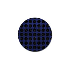 Circles1 Black Marble & Blue Leather (r) Golf Ball Marker (10 Pack) by trendistuff