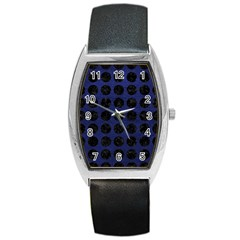 Circles1 Black Marble & Blue Leather (r) Barrel Style Metal Watch by trendistuff