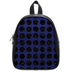 CIRCLES1 BLACK MARBLE & BLUE LEATHER (R) School Bag (Small) Front