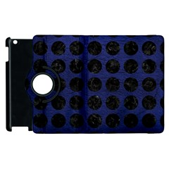 Circles1 Black Marble & Blue Leather (r) Apple Ipad 3/4 Flip 360 Case by trendistuff