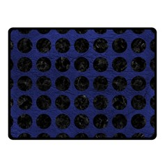 Circles1 Black Marble & Blue Leather (r) Double Sided Fleece Blanket (small) by trendistuff