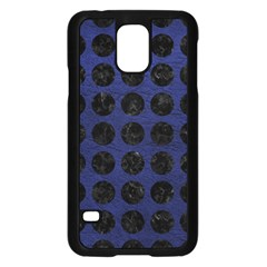Circles1 Black Marble & Blue Leather (r) Samsung Galaxy S5 Case (black) by trendistuff