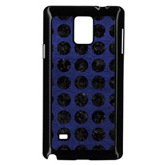 Circles1 Black Marble & Blue Leather (r) Samsung Galaxy Note 4 Case (black) by trendistuff