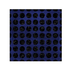Circles1 Black Marble & Blue Leather (r) Small Satin Scarf (square) by trendistuff