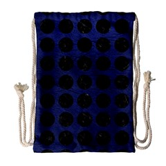Circles1 Black Marble & Blue Leather (r) Drawstring Bag (large) by trendistuff