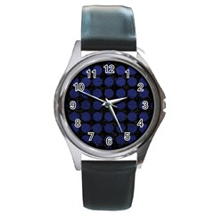 Circles1 Black Marble & Blue Leather Round Metal Watch by trendistuff