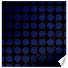 Circles1 Black Marble & Blue Leather Canvas 16  X 16  by trendistuff