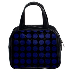 Circles1 Black Marble & Blue Leather Classic Handbag (two Sides) by trendistuff