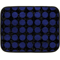 Circles1 Black Marble & Blue Leather Double Sided Fleece Blanket (mini) by trendistuff