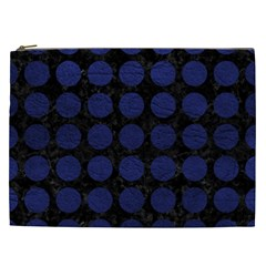 Circles1 Black Marble & Blue Leather Cosmetic Bag (xxl) by trendistuff