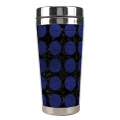 Circles1 Black Marble & Blue Leather Stainless Steel Travel Tumbler by trendistuff