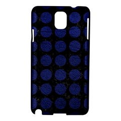 Circles1 Black Marble & Blue Leather Samsung Galaxy Note 3 N9005 Hardshell Case by trendistuff