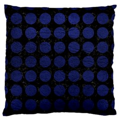 Circles1 Black Marble & Blue Leather Large Flano Cushion Case (two Sides) by trendistuff