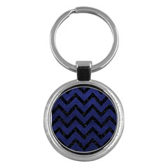 Chevron9 Black Marble & Blue Leather (r) Key Chain (round)